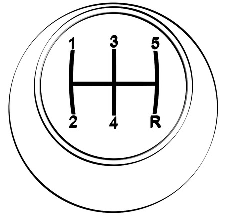 reverse: outline of the top view of automotive stick or gear shift - vector