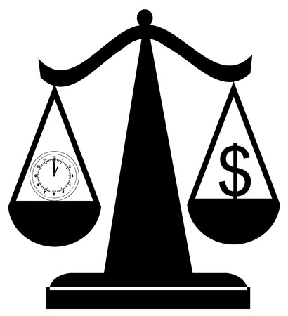 ponder: scales of justice balancing time and money - vector