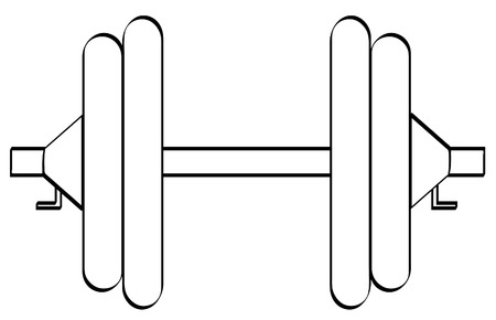 outline of dumbell or weight set with two weights on each side - vector Vector