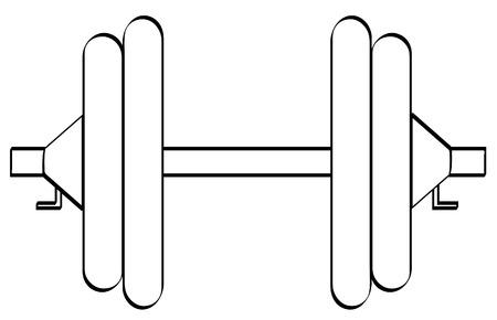 dumbell: schema di dumbell o di peso stabiliti con due pesi su entrambi i lati - vector Vettoriali