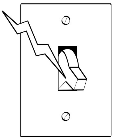 electrocute: outline of electrical light switch with bolt of electricity - vector