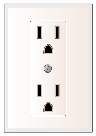 grounded: grounded electrical power outlet - vector