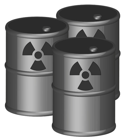 three 3d barrels with radio active chemicals in them - vector Stock Vector - 2893760