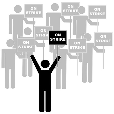 stick figures or men with union leader on picket line - vector  Vector