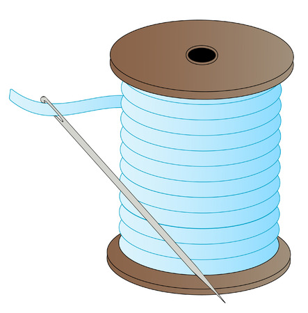 threaded: blue spool of thread with threaded needle attached - vector