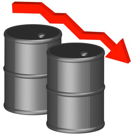 oliedrum: 3d - vat of vijftig gallon trommel met dropping pijl - olie concept - vector Stock Illustratie