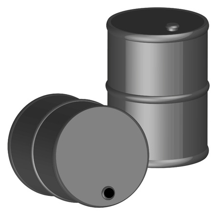 gal�n: 3d negro dos barriles o bidones de cincuenta galones - vector