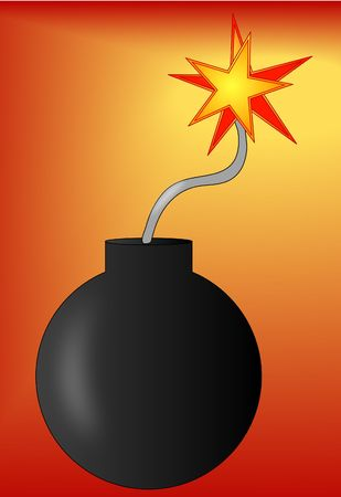 threats: bomb with lit fuse on red gradient background Stock Photo