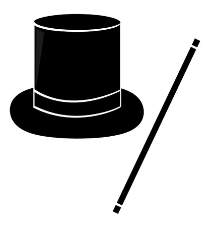 tophat: silhouette of black magic hand and wand - vector