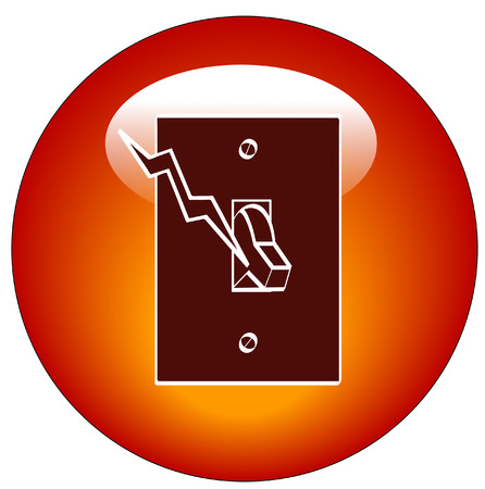jolt: red light switch web button or ion - vector Illustration