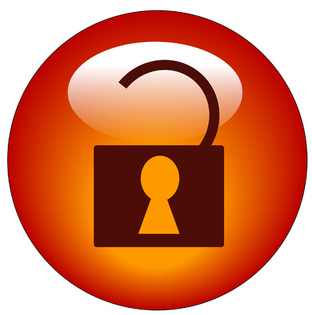 duties: red web button or icon of padlock that is unlocked - vector