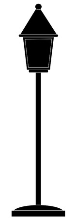 architectural styles: silhouette of traditional stand style lamp post - vector