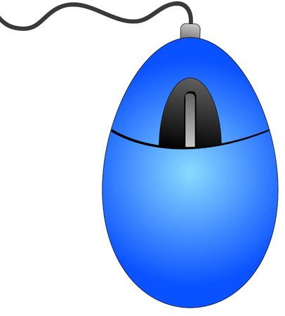 blue computer mouse with connecting cord - vector Vector