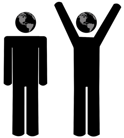 stick figure people or men with world globe heads - vector Vector