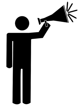 stick man or figure talking into bullhorn or megaphone - vector Illustration