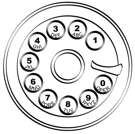 telefon: Kontur z obrotowa stylu telefonu kluczowych pad - wektorowe