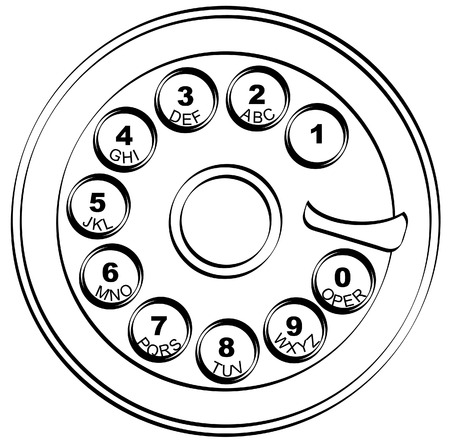 old fashioned: outline of rotary style phone key pad  - vector