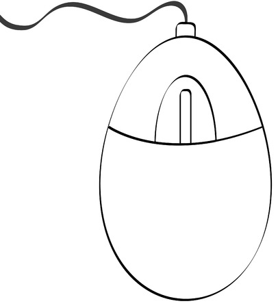 pc icon: outline of computer mouse with connecting cord - vector Illustration