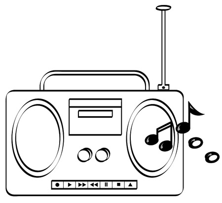 portable radio: la m�sica o la radio est�reo Boombox con la m�sica y el vector  Vectores