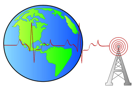 telecommunication tower: radio tower beside globe with connecting rhythm - vector Illustration