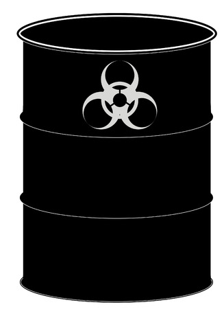 toxic substance: fifty gallon drum or black barrel with biohazard sign - vector