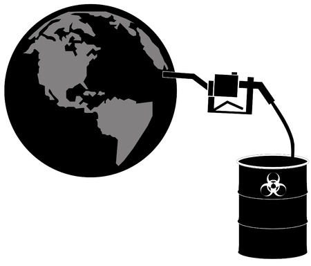 toxic substance: hazardous chemical being pumped into the globe - environmental concept - vector Illustration