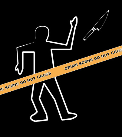 csi: body with crime scene and knife as the weapon - vector
