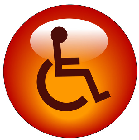 accessibility: red button or icon with handicap symbol of accessibility - vector