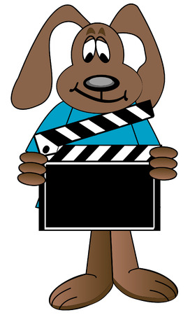 movie screen: dog cartoon holding up directors clapboard - vector
