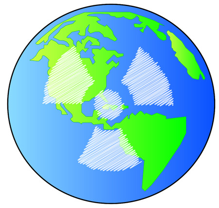 quarantine: earth or globe with radio active symbol on it - vector