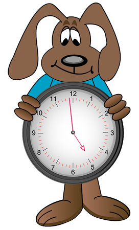 minute: cartoon dog holding clock with time showing one minute to five - vector Illustration