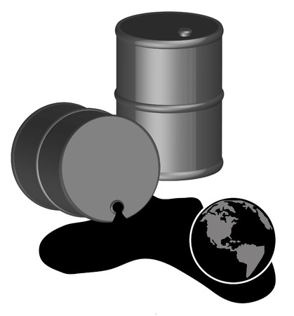 3d - black fifty gallon barrels of spilled oil with globe - vector Vector