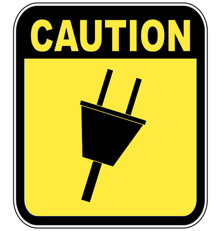 vulnerability: yellow caution sign warning of power surge or electrocution - vector