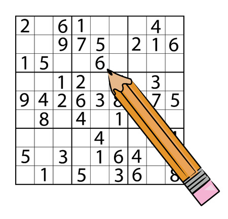 clues: soduku game pencil filling in the numbers - vector Illustration
