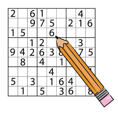 remplissage: soduku jeu crayon de remplissage dans le nombre - vecteur