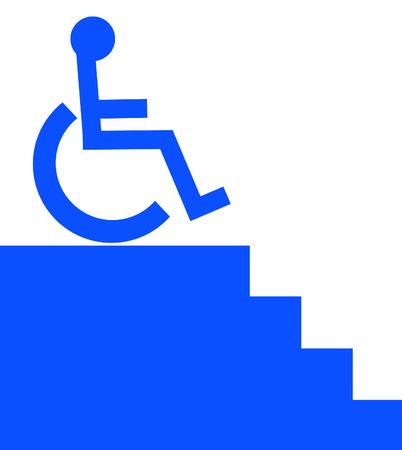 핸디캡: handicap person in wheelchair unable to access the stairway - vector 일러스트