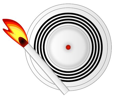 match with burning flame setting of smoke detector - vector photo