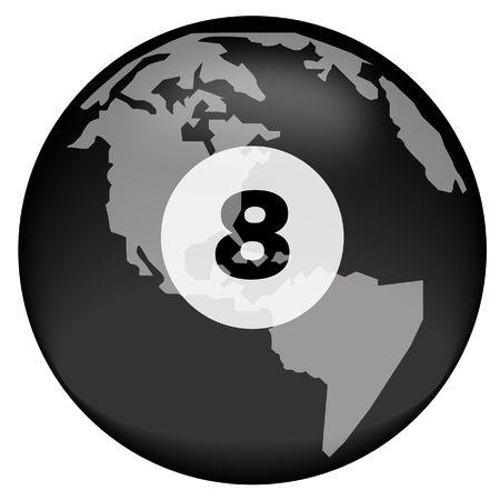 poolball: earth or globe with eight ball overlay - vector Stock Photo