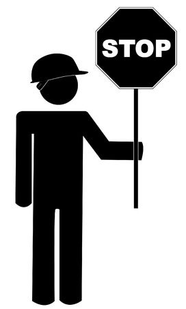 public figure: stick figure road worker with stop sign - vector Illustration