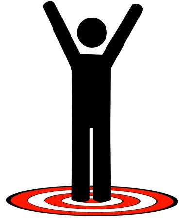 nemici: bastone di uomo o di figura in piedi sul rosso bersaglio con armi innalzato - vettore  Vettoriali