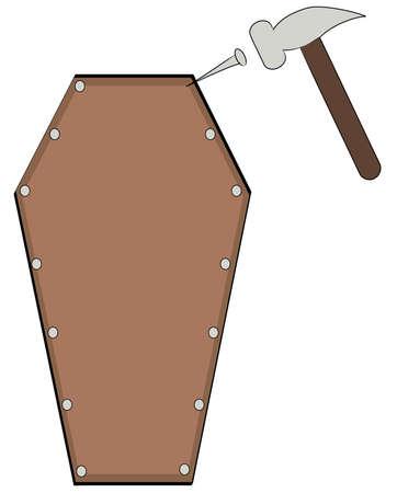 trumna: wprowadzenie w ostatnim gwoździem do trumny - wektor
