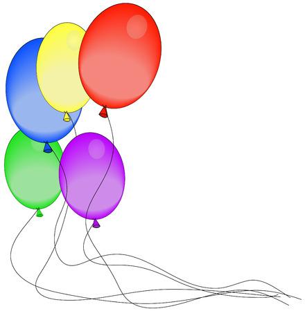 inflated: brightly colored balloons with strings attached - vector