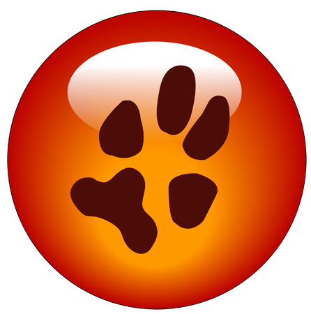 red paw print web button or icon - vector Vector