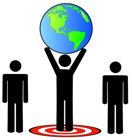 unification: stick figure team standing on target holding the earth - vector