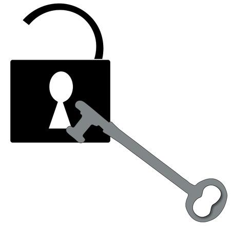 open padlock with silver antique key - vector Vector