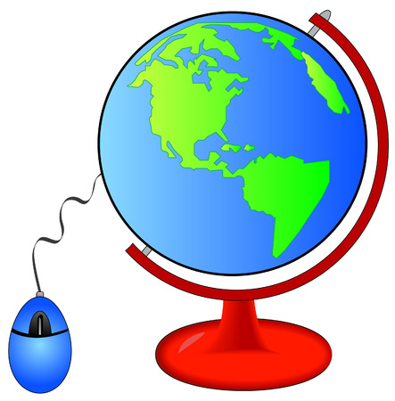 earth on globe stand connected to computer mouse - vector Vector