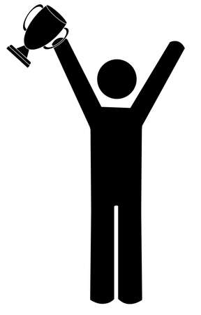 trofé: stick figure or man with arms up holding trophy - vector Illustration