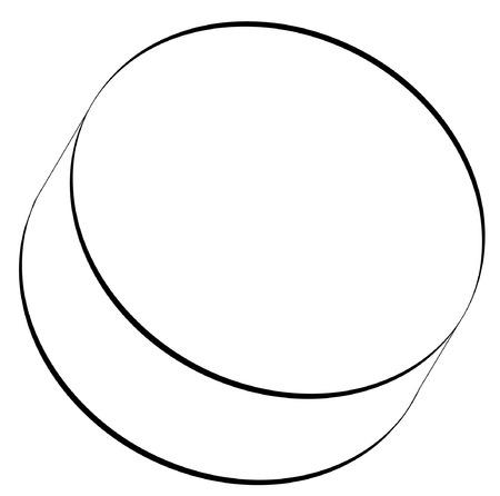 black outline of hockey puck - vector
