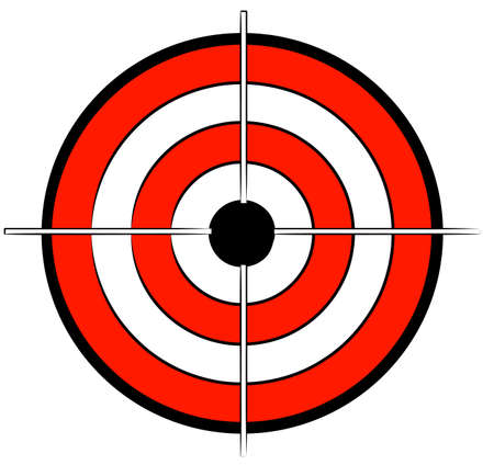 red white and black bullseye target with crosshair - vector Vector