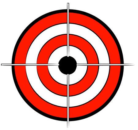 sobresalir: rojo, blanco y negro con Bullseye objetivo cruz - vector  Vectores